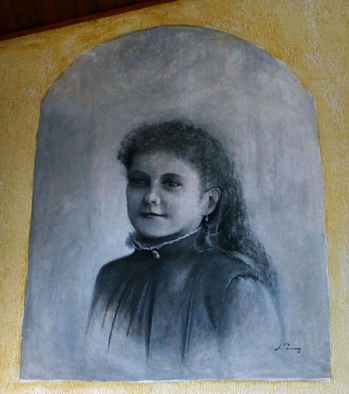 Foto van schilderij met portret jonge vrouw