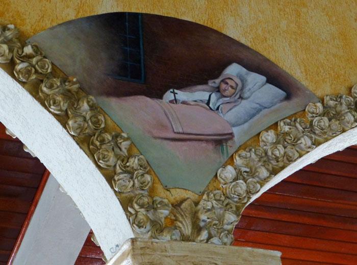 Foto van schildering van zieke in bed