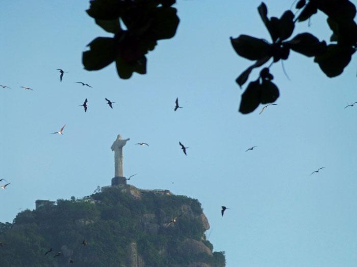 Foto van Christusbeeld omringd door vogels